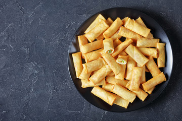 Fototapeta deep fried crispy chinese spring rolls, flatlay obraz