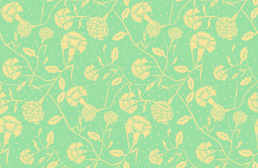 Floral seamless pattern in art nouveau style. Flower carnation background in tuquoise and beige. Floral seamless texture with flowers - Vector