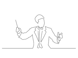 Orchestra conductor line drawing, vector illustration design. Music collection.
