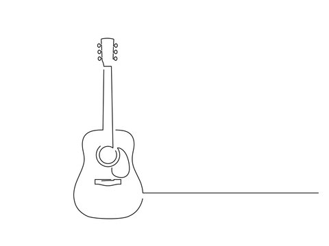 Acoustic guitar isolated line drawing, vector illustration design. Music collection.