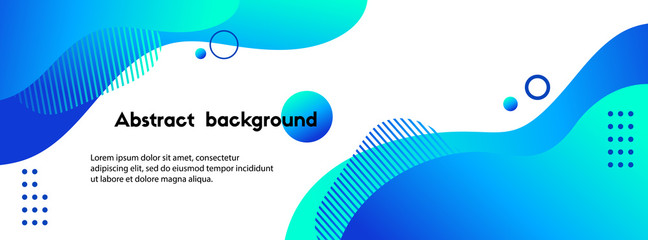 Liquid abstract background. Blue fluid vector banner template for social media, web sites. Wavy shapes Fotomurales