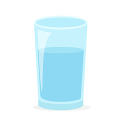 Drinking water. Vector blue transparent glass filled with water.