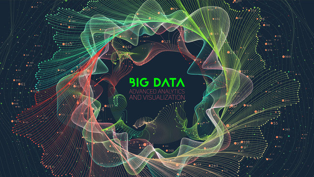 Vector abstract colorful big data information sorting visualization. Social network, financial analysis of complex databases. Visual information complexity clarification. Intricate data graphic