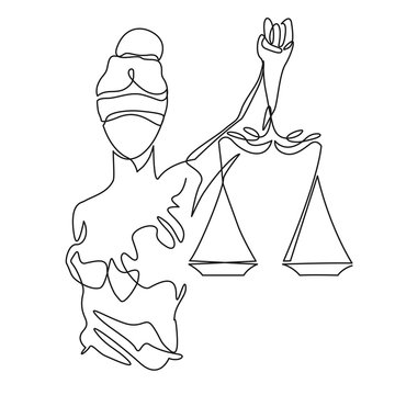 Themis statue holding scales balance continuous one line vector drawing. Symbol of justice, law and order.