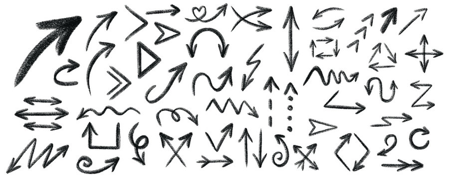 Arrow grunge vector set. Arrow texture vector set. Arrow chalk vector set.