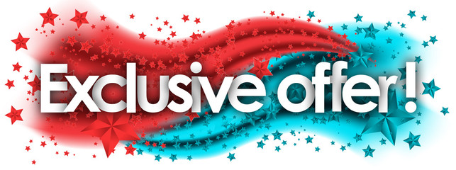 Exclusive Offer word in stars colored background
