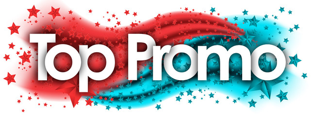 Top Promo this word in stars colored background