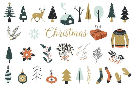 Collection of Vintage Merry Christmas And Happy New Year flowers. Vector illustration with floral elements, leaves.Perfect for winter decoration
