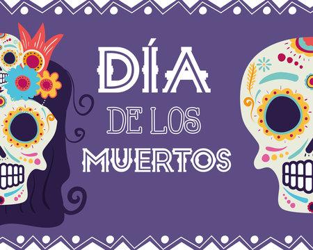 dia de los muertos card with catrina and skull heads