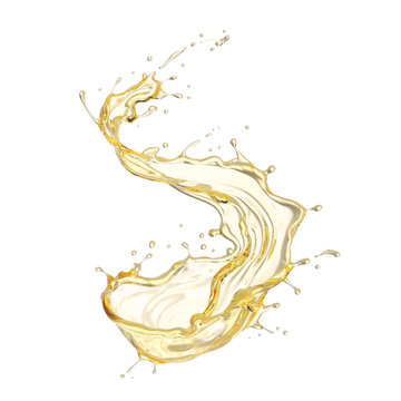Olive or engine oil splash isolated on white background, 3d illustration with Clipping path.