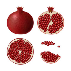 Set of pomegranate. Isolated half of ruby colorful pomegranate, whole round fruit, half, res slice and juicy seeds on white background. Realistic colored juicy pomegranate.