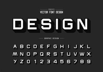 Shadow font and alphabet vector, Design typeface letter and number, Graphic text on background