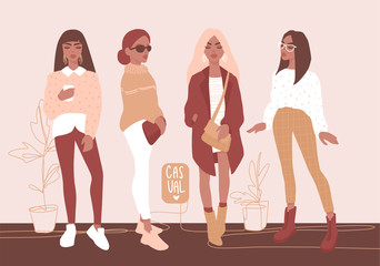 Young women vector set. Stylish girls in trendy clothes isolated on white background. Wall mural
