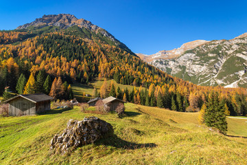 Wall Mural - Autumn mountains rural scene. Hiking in Austrian Alps, Tyrol, Austria.