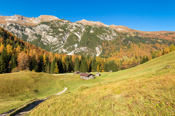 Wall Mural - Autumn mountains landscape. Hiking in Austrian Alps, Tyrol, Stubai Alps, Austria