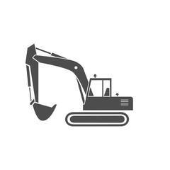 An excavator monochrome icon. A heavy equipment.  A bucket digger for a construction  and industrial work.