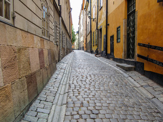 Foto auf Acrylglas Schmale Gasse Narrow alley with cobblestone