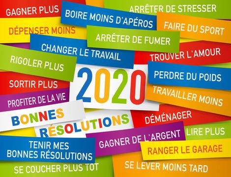 Carte de vœux 2020 présentant une liste de bonnes résolutions écrite sur des étiquettes de couleurs.