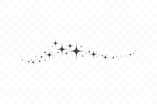 Falling star. Cloud of stars isolated on transparent background. Vector illustration