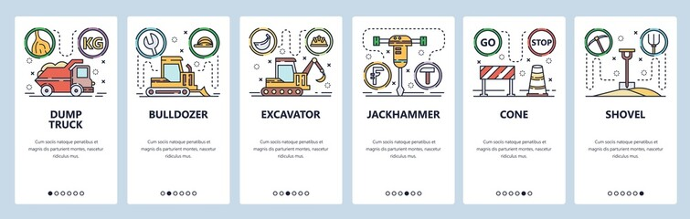 Mobile app onboarding screens. Construction industry icons, heavy machines, dump truck, bulldozer, excavator. Vector banner template for website and mobile development. Web site design illustration