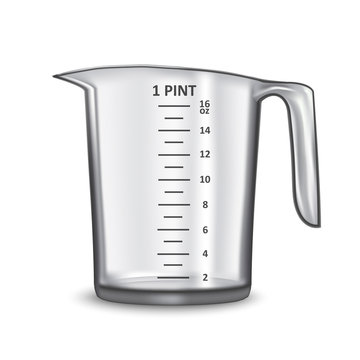 Realistic 3d Detailed Transparent Glass or Plastic Empty Measuring Cup. Vector