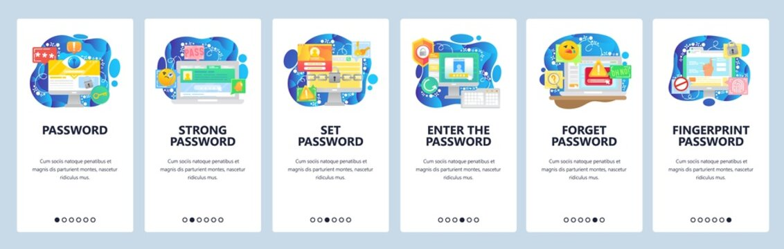 Mobile app onboarding screens. Password protection, computer cyber security, secure access, fingerprint technology. Vector banner template for website and mobile development. Web site illustration