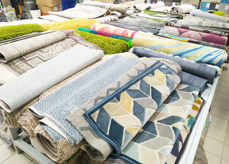 Sale of modern natural and artificial textile carpets with pile, environmental technology