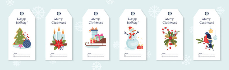 Set of vector illustration of christmas gift labels.