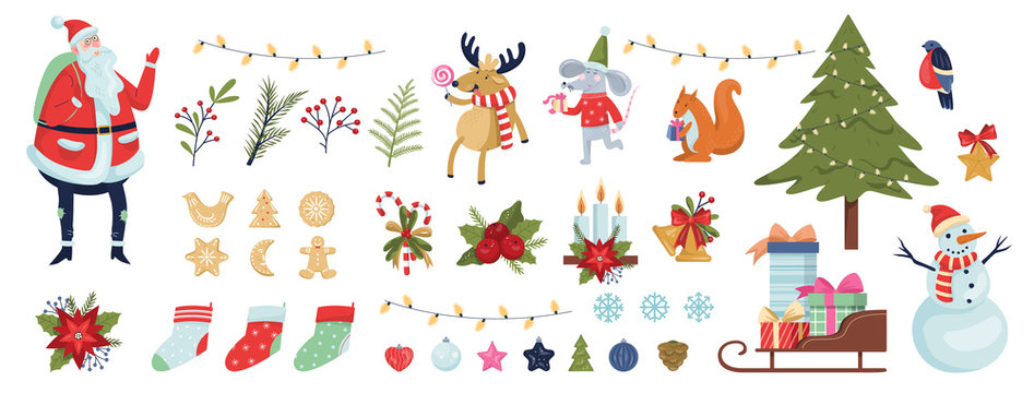 Cute christmas icon set. Collection of new year decoration stuff.