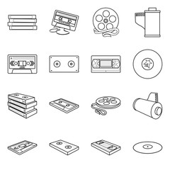 Isolated object of player and device icon. Collection of player and equipment vector icon for stock.