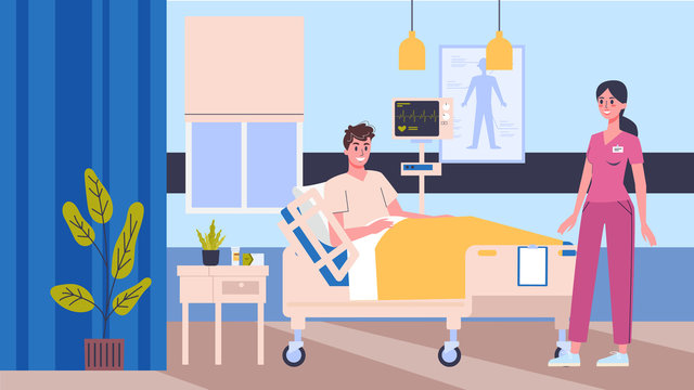 Vector illustration hospital room. Doctor and nurse checkinf patients.