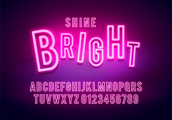 Vector Illustration Retro Neon Font, Colorful Light Alphabet With Numbers. Shine Future Typography.