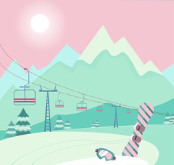 Winter snowy landscape with Ski equipment snowboard and ski goggles, lift, trail, Alps, fir trees, sunny weather, mountains panoramic background. Ski resort season is open. Winter web banner design.