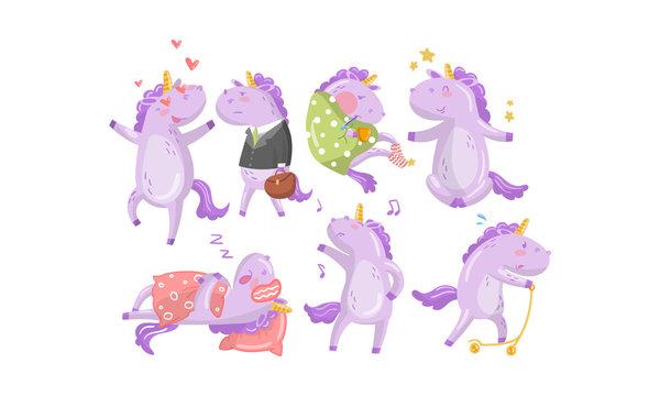 Set of cartoon humanized lilac unicorns. Vector illustration.