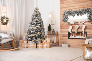 Foto op Canvas Kerstmis Beautiful interior of living room with decorated Christmas tree