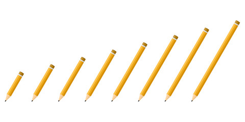 Set of vector Pencils in flat design.