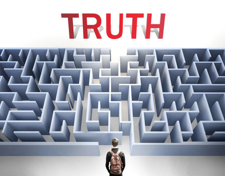 Truth can be hard to get - pictured as a word Truth and a maze to symbolize that there is a long and difficult path to achieve and reach Truth, 3d illustration