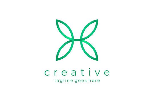 Letter H Nature Logo Leaf Icon Flat Vector Logo Design