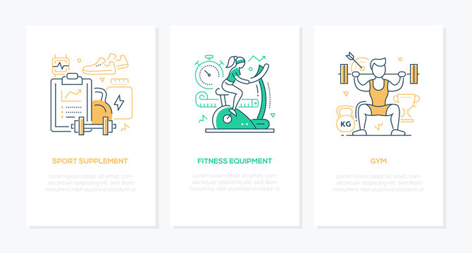 Sport and workout - vector line design style banners