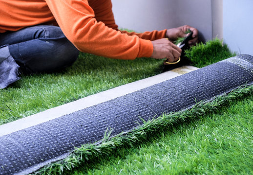 Artificial grass in the garden
