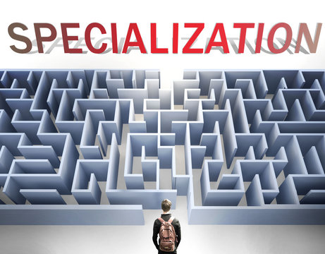 Specialization can be hard to get - pictured as a word Specialization and a maze to symbolize that there is a long and difficult path to achieve and reach Specialization, 3d illustration