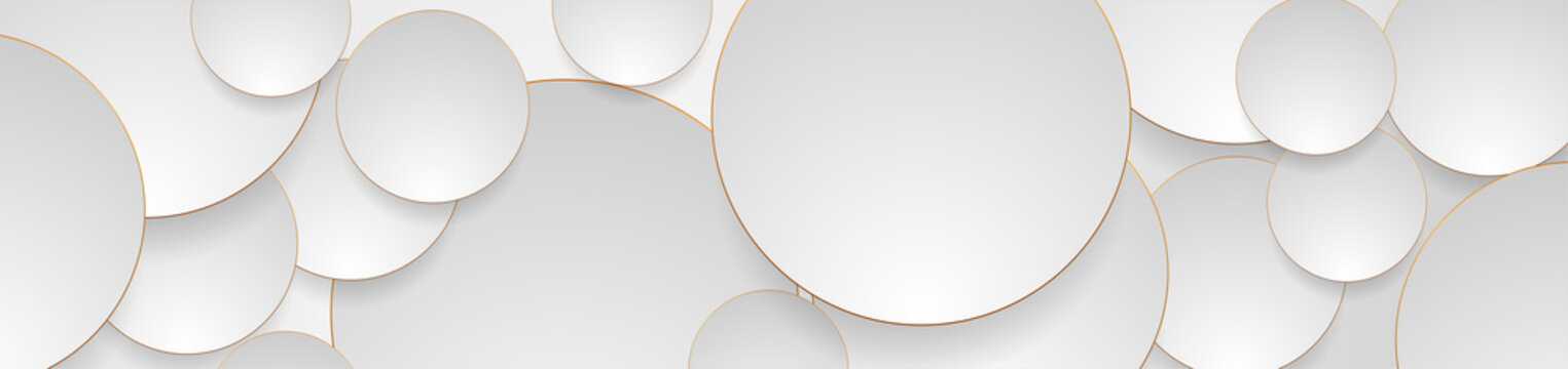 Tech geometric background with abstract golden and grey circles. Vector banner design