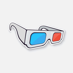 Vector illustration. Paper 3d glasses isometric view. Stereo retro glasses for three-dimensional cinema. Symbol of the film industry. Sticker with contour. Isolated on white background