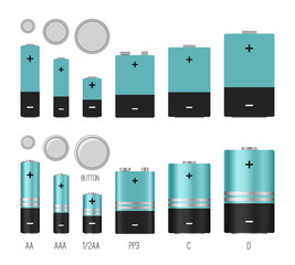 Battery size illustration. Batteries sizes vector image isolated, batterys styles, different batterie electronic industrial objects, lithium chemical electrical componenets