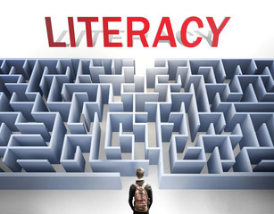 Literacy can be hard to get - pictured as a word Literacy and a maze to symbolize that there is a long and difficult path to achieve and reach Literacy, 3d illustration