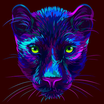 Panther. Abstract, multi-colored, neon portrait of a panther head on a dark brown background in pop art style.