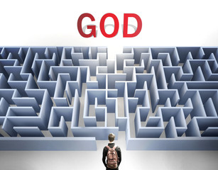God can be hard to get - pictured as a word God and a maze to symbolize that there is a long and difficult path to achieve and reach God, 3d illustration