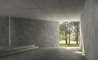 Wall Mural - Empty concrete room interior with nature view 3d render,There are polished concrete floor and wall,There are large entrance look out to see the nature,sunlight shining into the room.