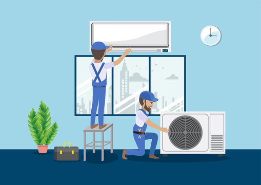 Technician repairing split air conditioner on a blue wall. Construction building industry, new home, construction interior. Cartoon character vector illustration