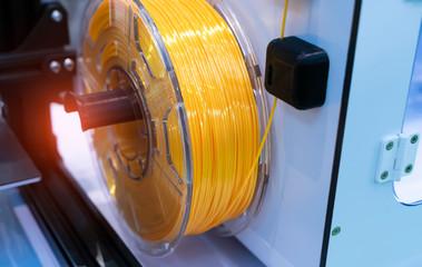 Fototapeta 3D printing filaments,Progressive modern additive technology obraz